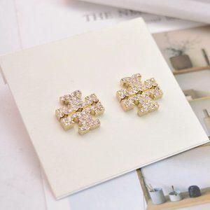 Tory Burch Full Diamond Zircon Logo Earrings